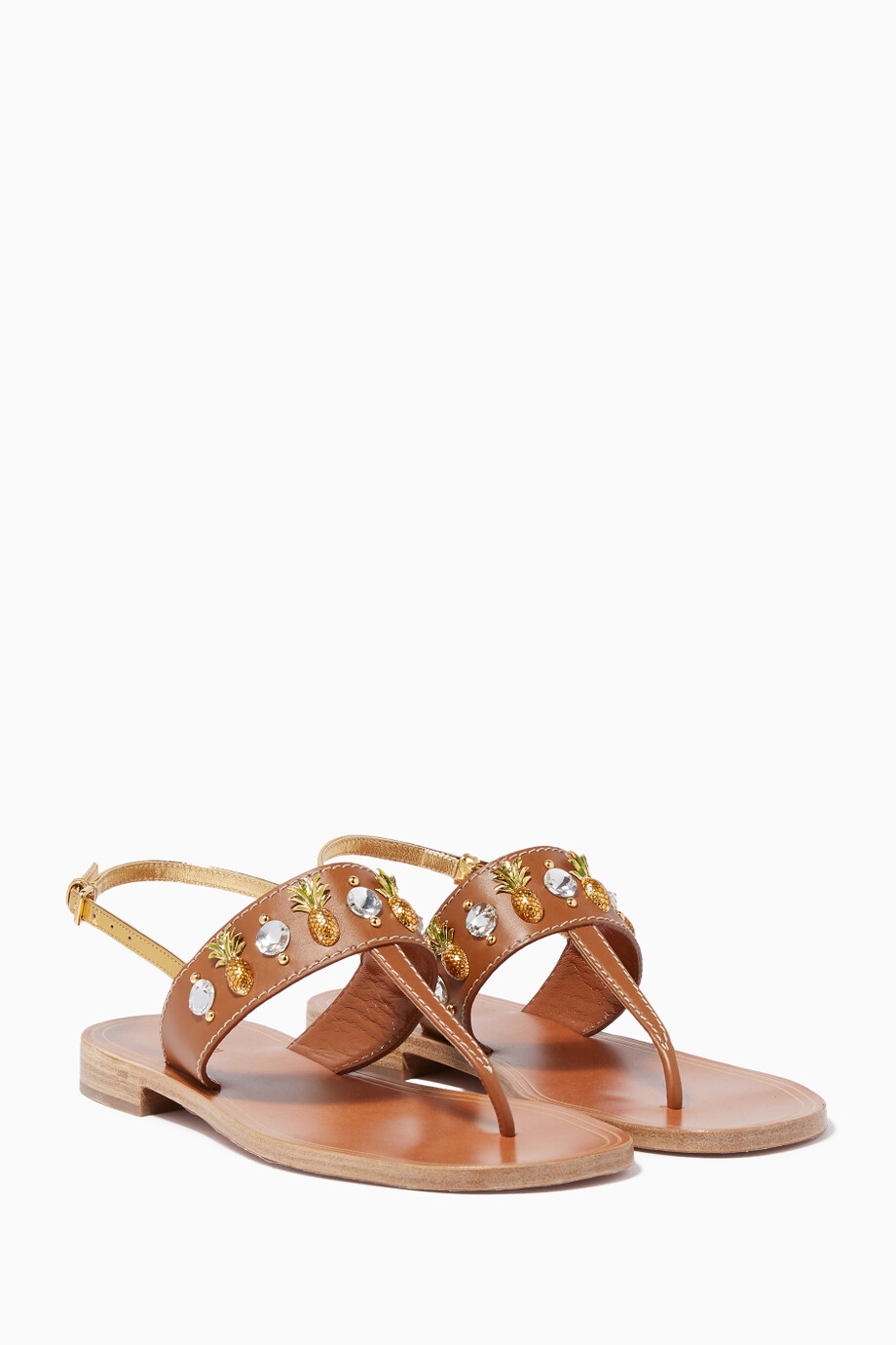 933d8dc14d2 Shop Miu Miu Brown Brown Crystal-Embellished Sandals for Women ...