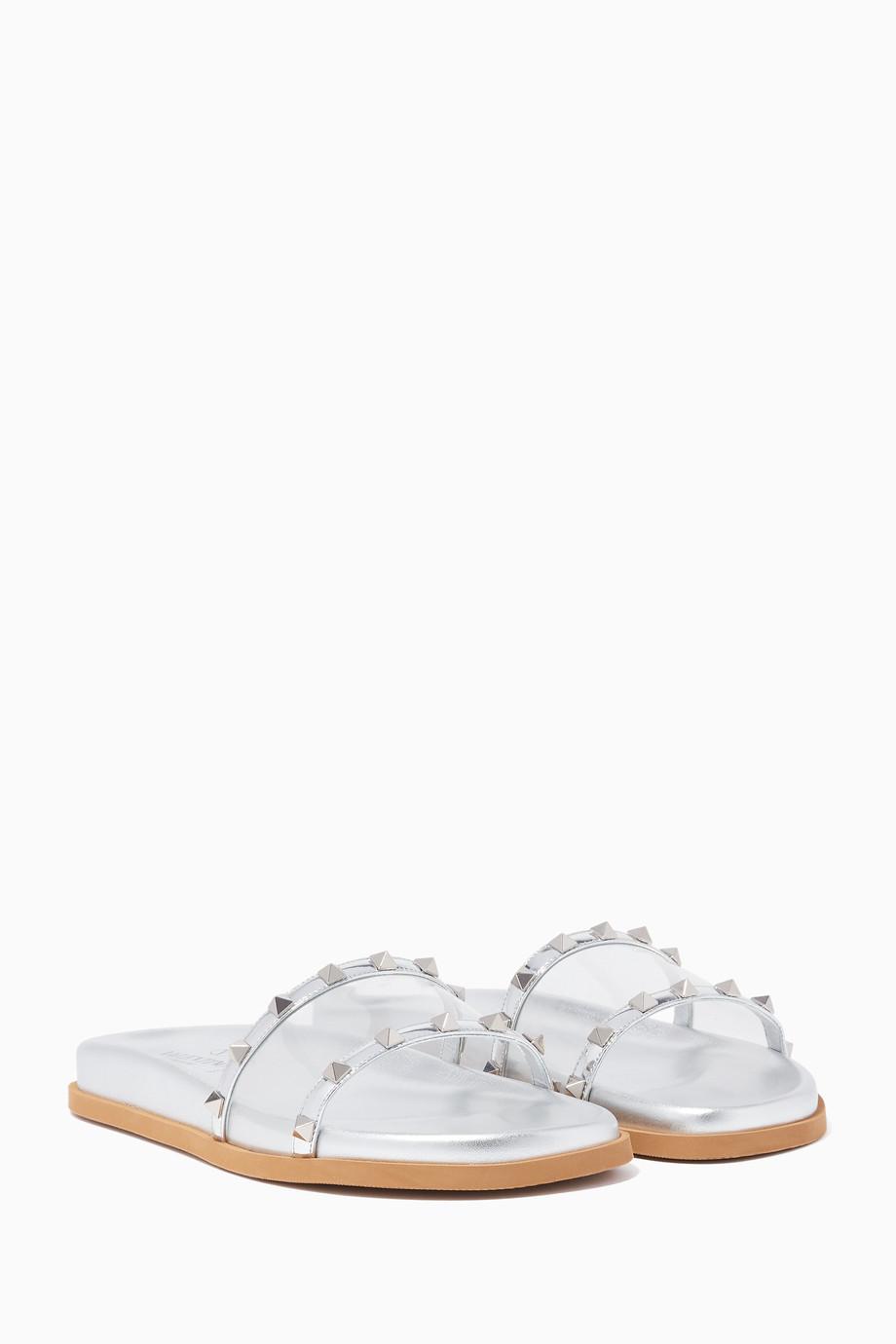 14d61e41313f Shop Valentino Silver Silver Moonwalk PVC Rockstud Slides for Women ...