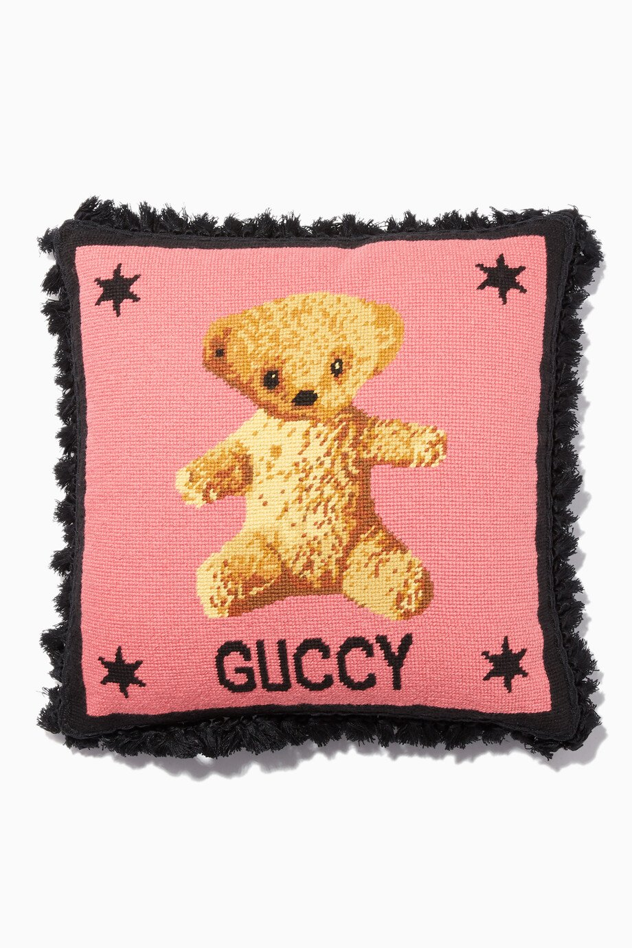Shop Gucci Multicolour Pink Needlepoint Teddy Bear Cushion for Women ... 866e55e0fa
