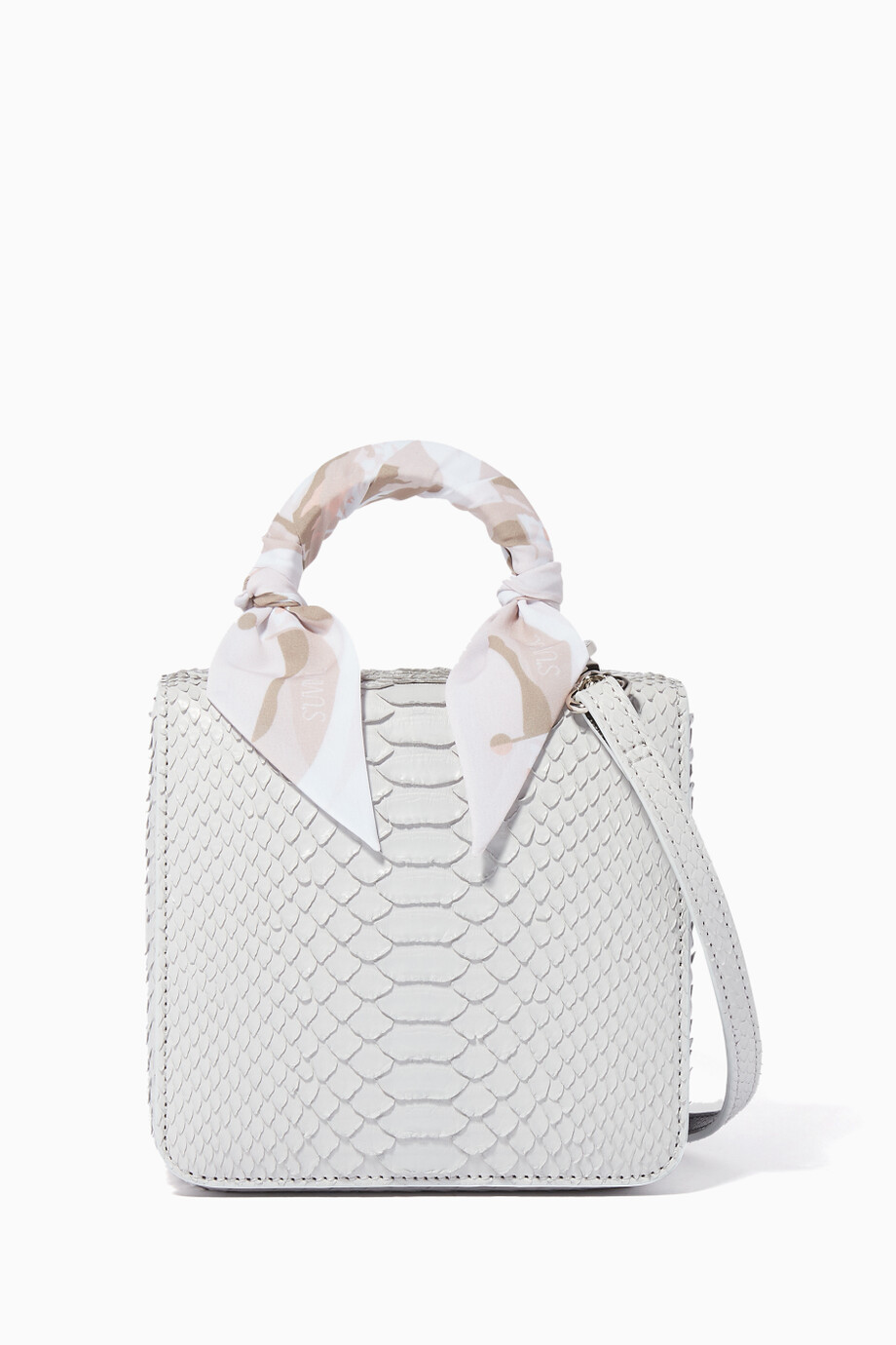 8f68e140bdc9 Shop S'uvimol Grey Light-Grey Python Square F Baby Top Handle ...