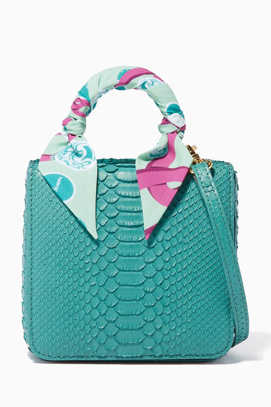 88477ca2fa4 Shop S'uvimol Green Green Python Square F Baby Top Handle Bag for ...