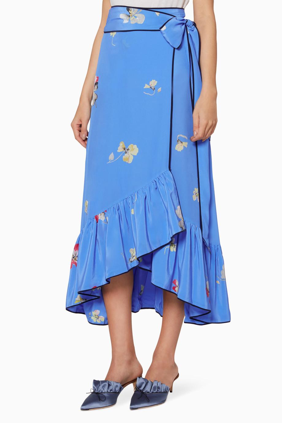 21c1033259 Shop Ganni Blue Blue Floral Printed Joycedale Wrap Skirt for Women ...