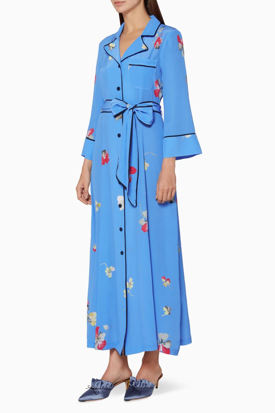 5101138f Shop Ganni Blue Blue Floral Printed Silk Joycedale Dress for Women ...