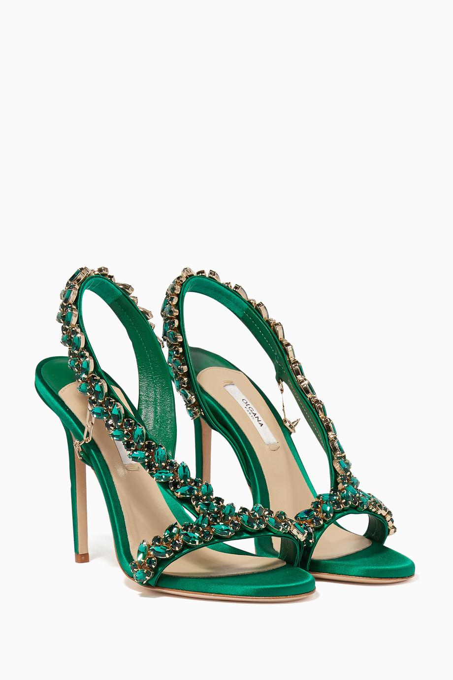 fb33f163694989 Shop Olgana Green Green Amazon Swarovski Embellished Sandals for ...