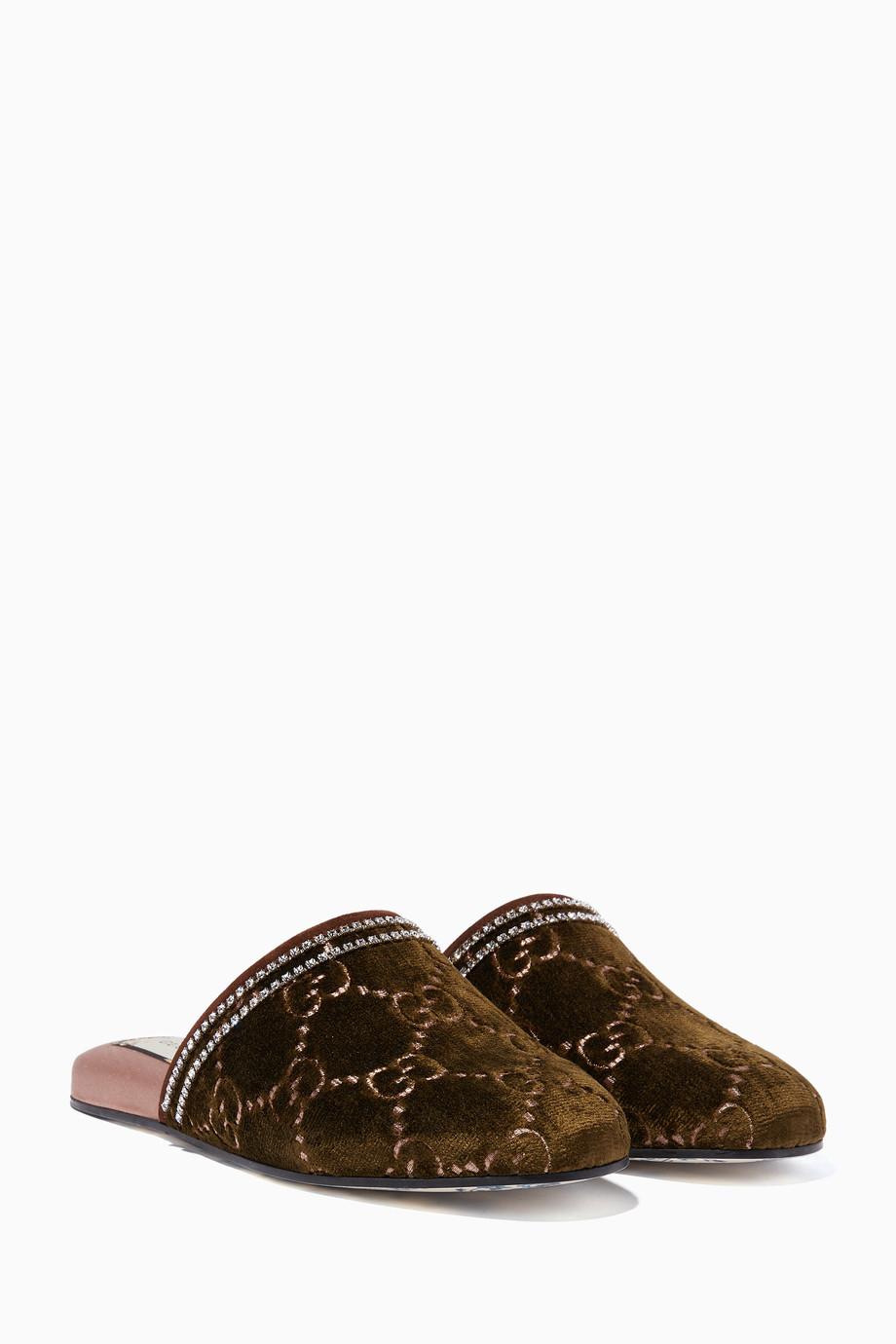 3348663fe Shop Gucci Green Dark-Green Velvet GG Crystal Slippers for Women ...