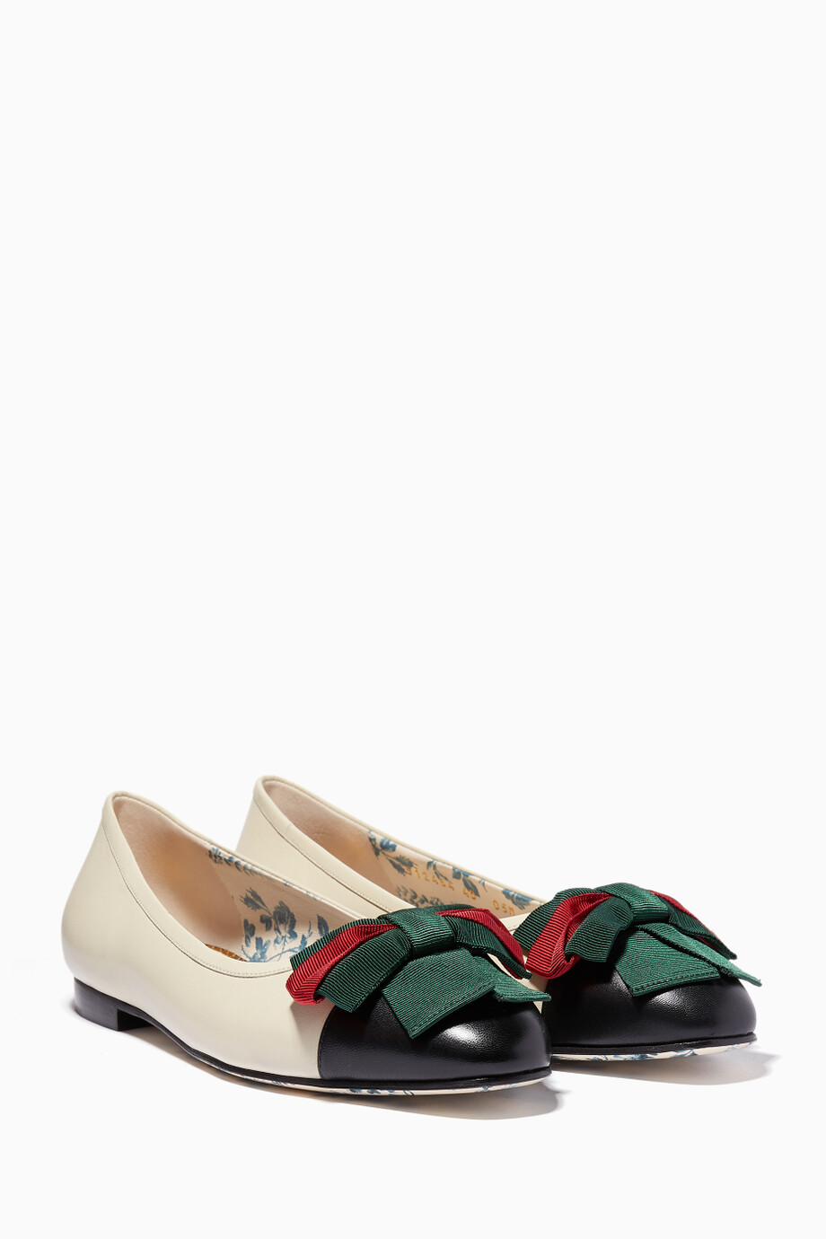 926a9720f Shop Gucci White Off-White Web Bow Ballet Flats for Women