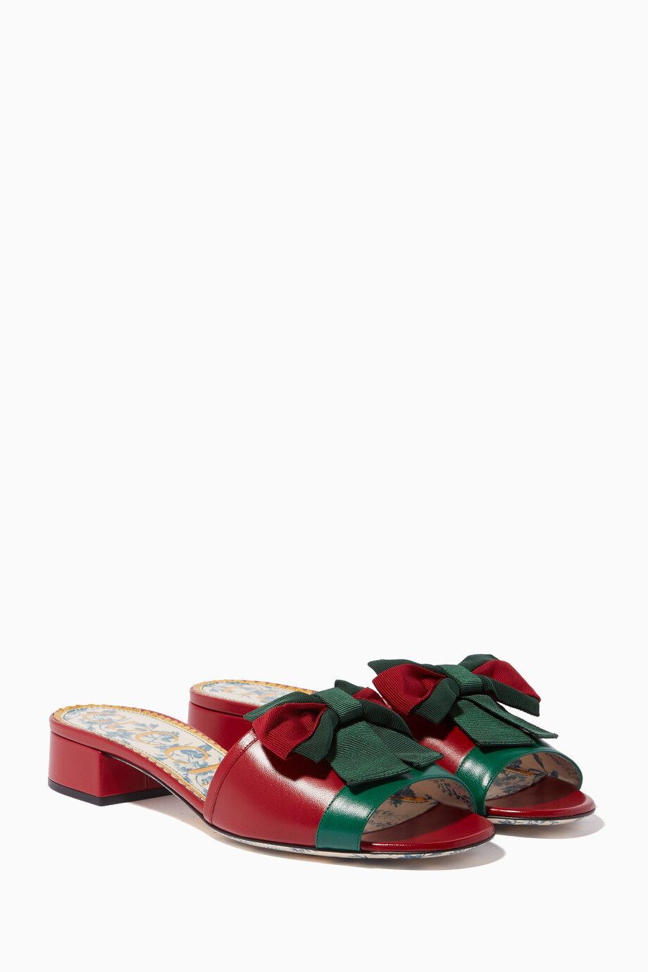 29a963077 Shop Gucci Red Red Web Bow-Embellished Leather Slides for Women ...