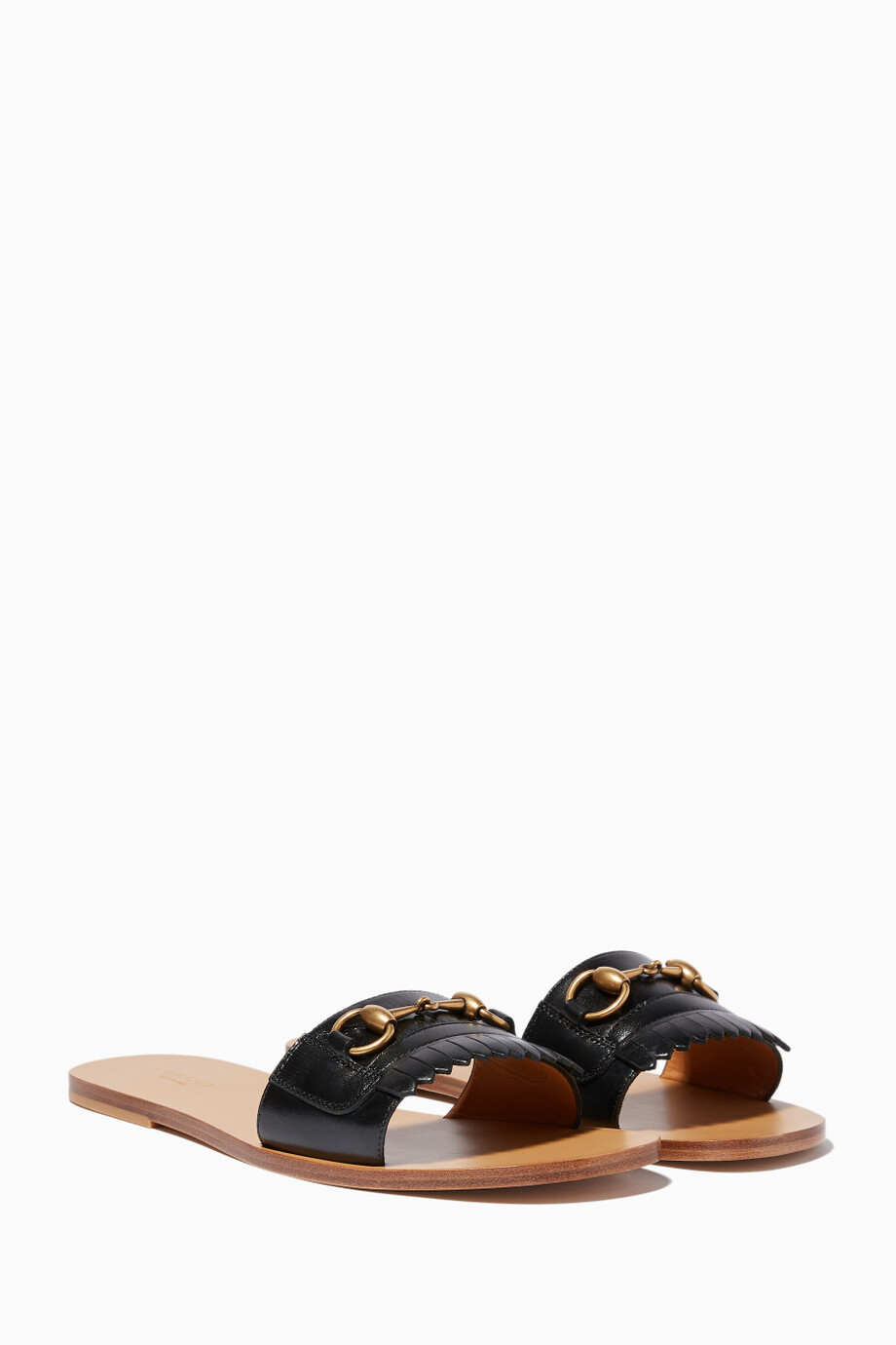 03dea3717e99 Shop Gucci Black Black Fringe Leather Horsebit Slides for Women ...