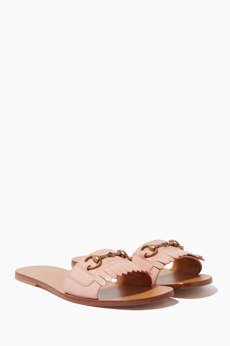 68d06742b2a Shop Gucci Pink Light-Pink Fringe Leather Horsebit Slides for Women ...