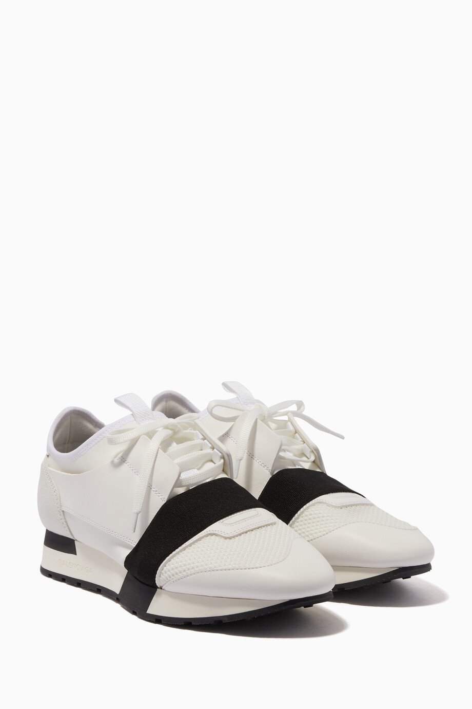Shop Balenciaga White White Race Runner Low Top Sneakers for