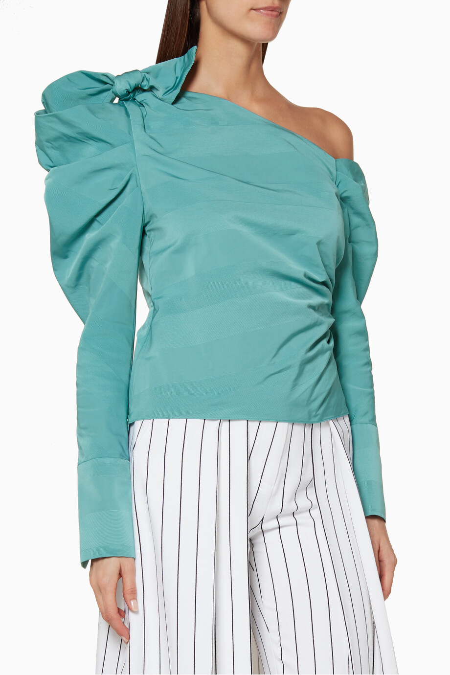 d4b2116247c4a Shop HELLESSY Blue Turquoise One-Shoulder Bow-Detail Top for Women ...