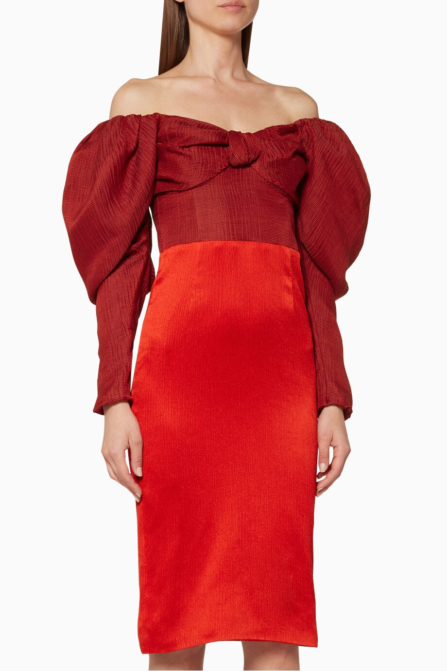 0179db4f5ffa Shop HELLESSY Red Red Off-The-Shoulder Midi Dress for Women | Ounass ...