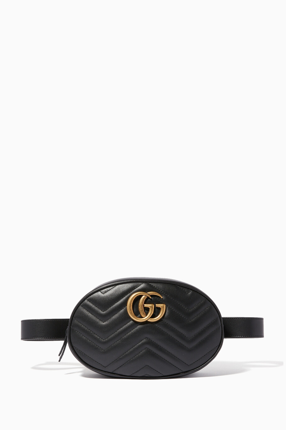 f9b604e92677 Shop Gucci Black Black Medium GG Marmont Matelassé Belt Bag for ...