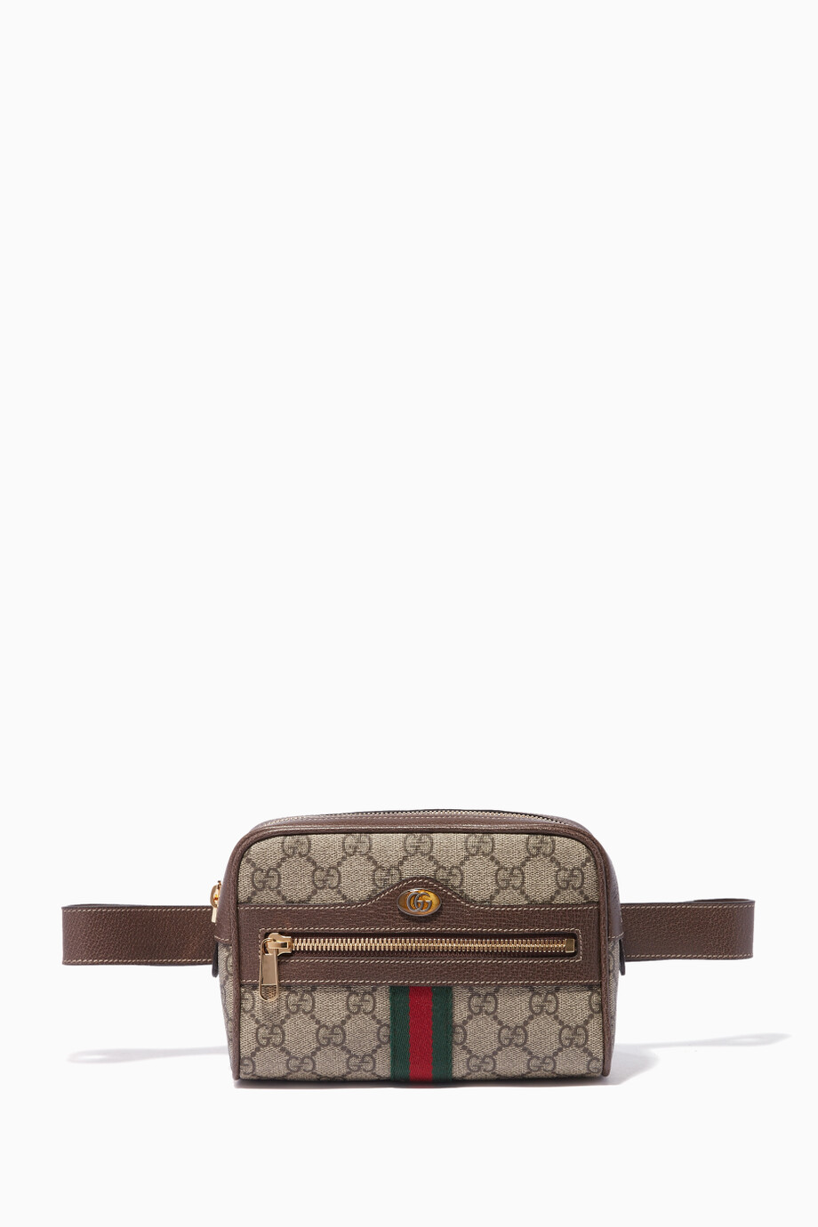 9b6863509e9 Shop Gucci Neutral Beige Ophidia GG Supreme Mini Belt Bag for Women ...