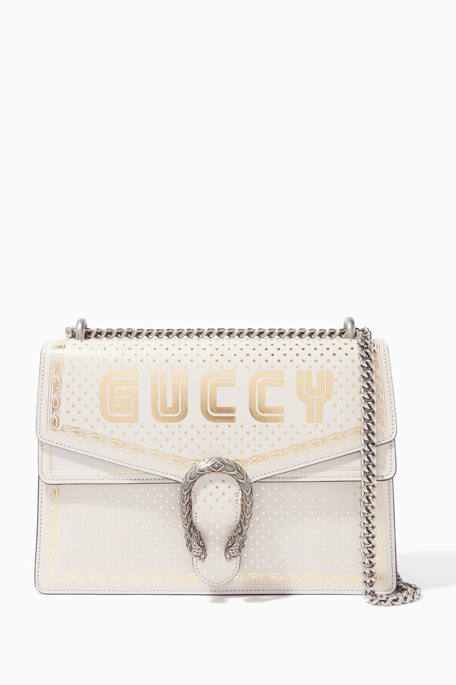 265fb0d7808 Shop Gucci White White Guccy Dionysus Medium Shoulder Bag for Women ...