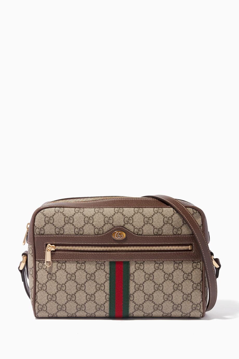 9b049cda2f1b Shop Gucci Neutral Beige Ophidia GG Supreme Medium Shoulder Bag for ...