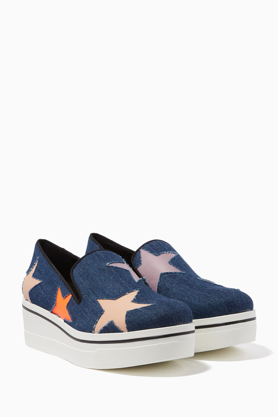 1e2e2a00987 Shop Stella McCartney Blue Dark-Blue Denim Star Binx Loafers for ...