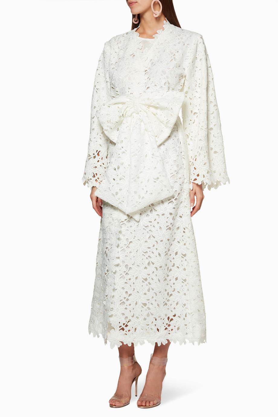 3d7c8173d تسوق قفطان كروشيه أبيض Bambah Boutique ابيض للنساء | اُناس الامارات