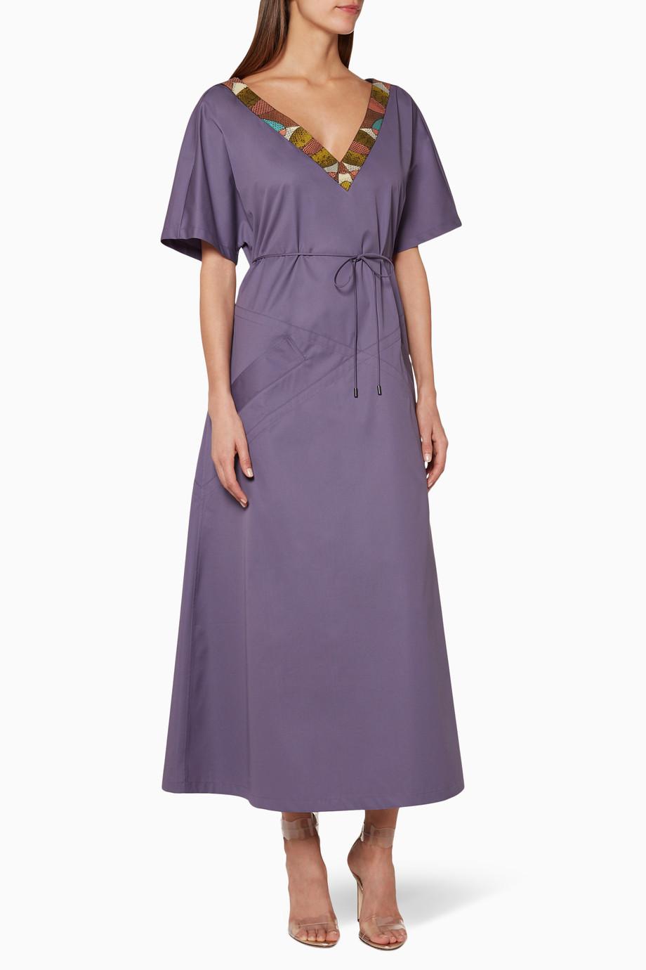 e1578236c5ddd Shop Bottega Veneta Purple Purple Embellished Midi Dress for Women ...