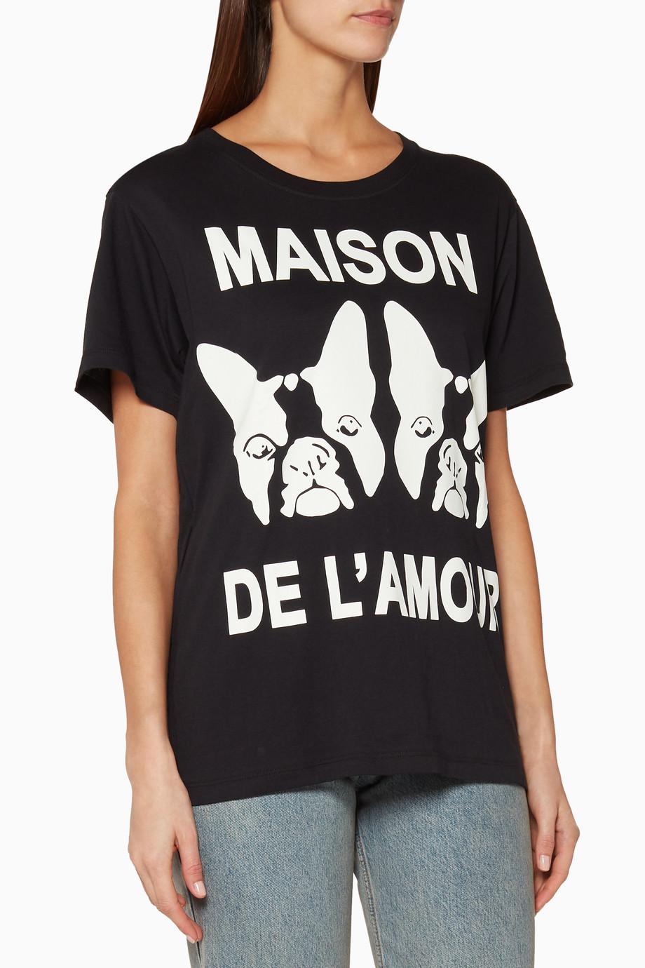 9947772cf Shop Gucci Black Black Maison de l'Amour T-Shirt for Women | Ounass ...