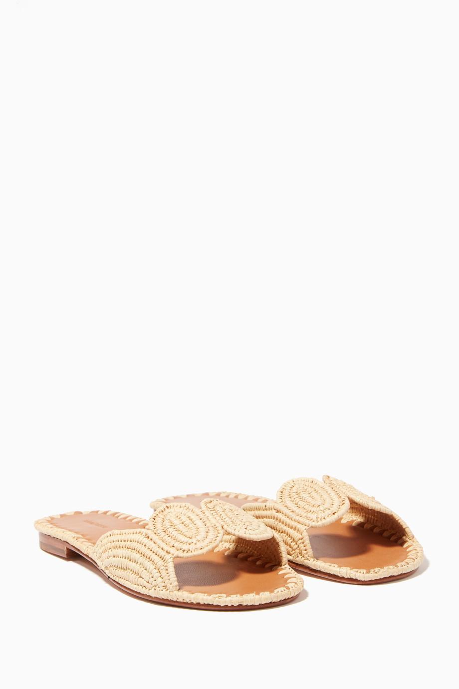 8ade943abad6 Shop Carrie Forbes Brown Light-Beige Raffia Naima Slides for Women ...