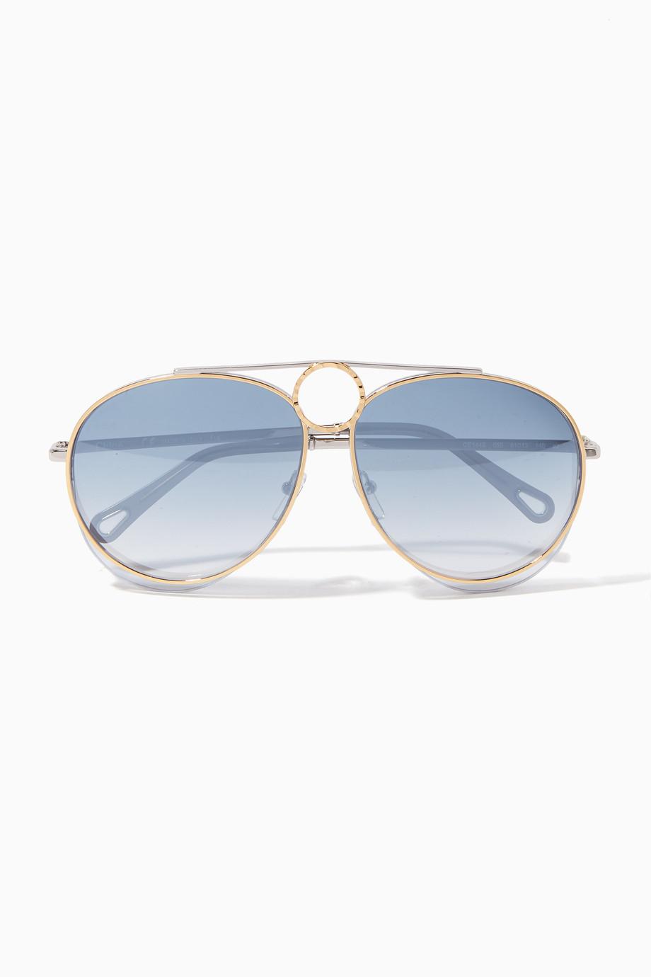 b4df7287588 Shop Chloé Blue Blue Degrade Romie Aviator Suglassses for Women ...