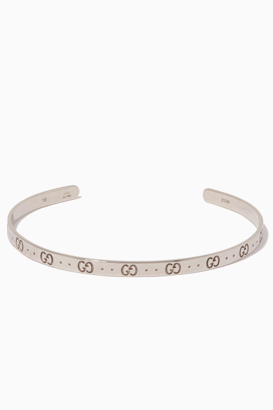 8f98e672e Shop Gucci Silver White-Gold Icon Bracelet for Women | Ounass UAE