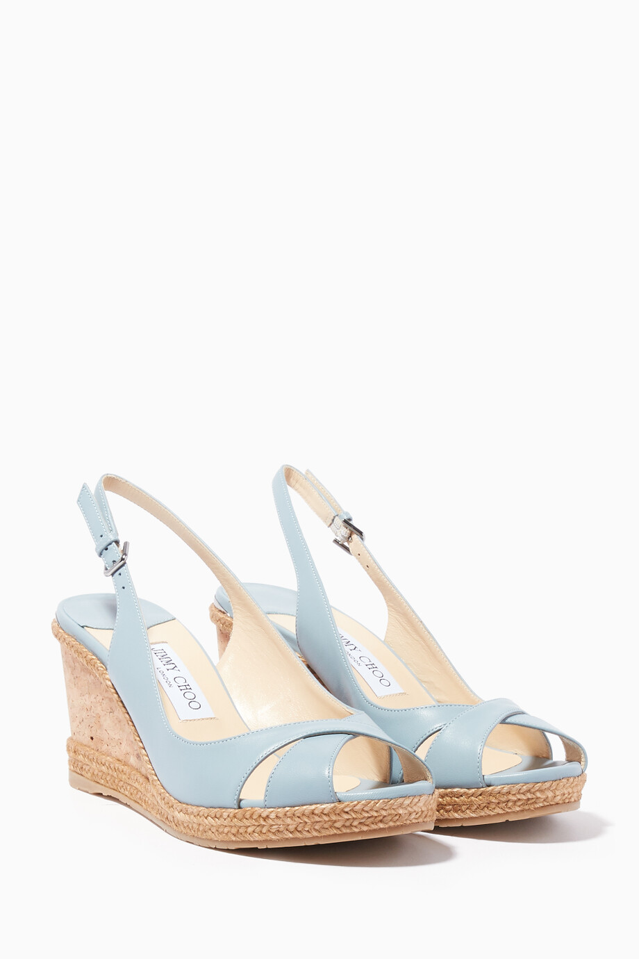 4c5437d78ff2 Shop Jimmy Choo Blue Aqua Nappa Leather Amely Wedges for Women ...