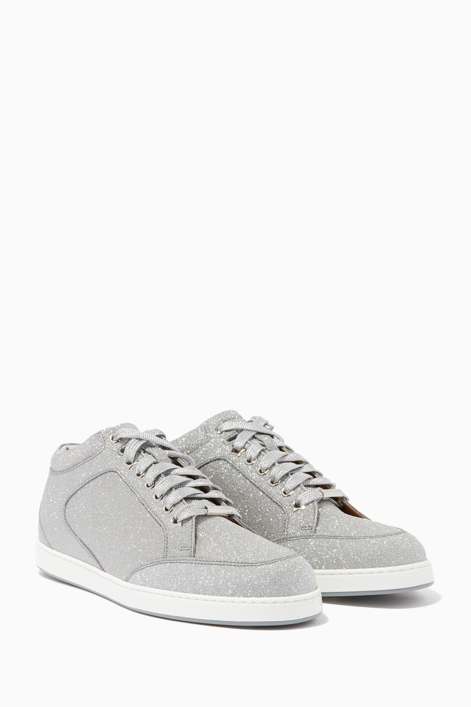 19518f9fd0b4 Shop Jimmy Choo Silver Silver Glitter Miami Sneakers for Women ...