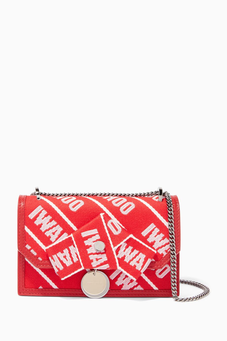 60b18d86577 Shop Jimmy Choo Pink Red   Rosewater Mini Finley Tape Shoulder Bag for  Women