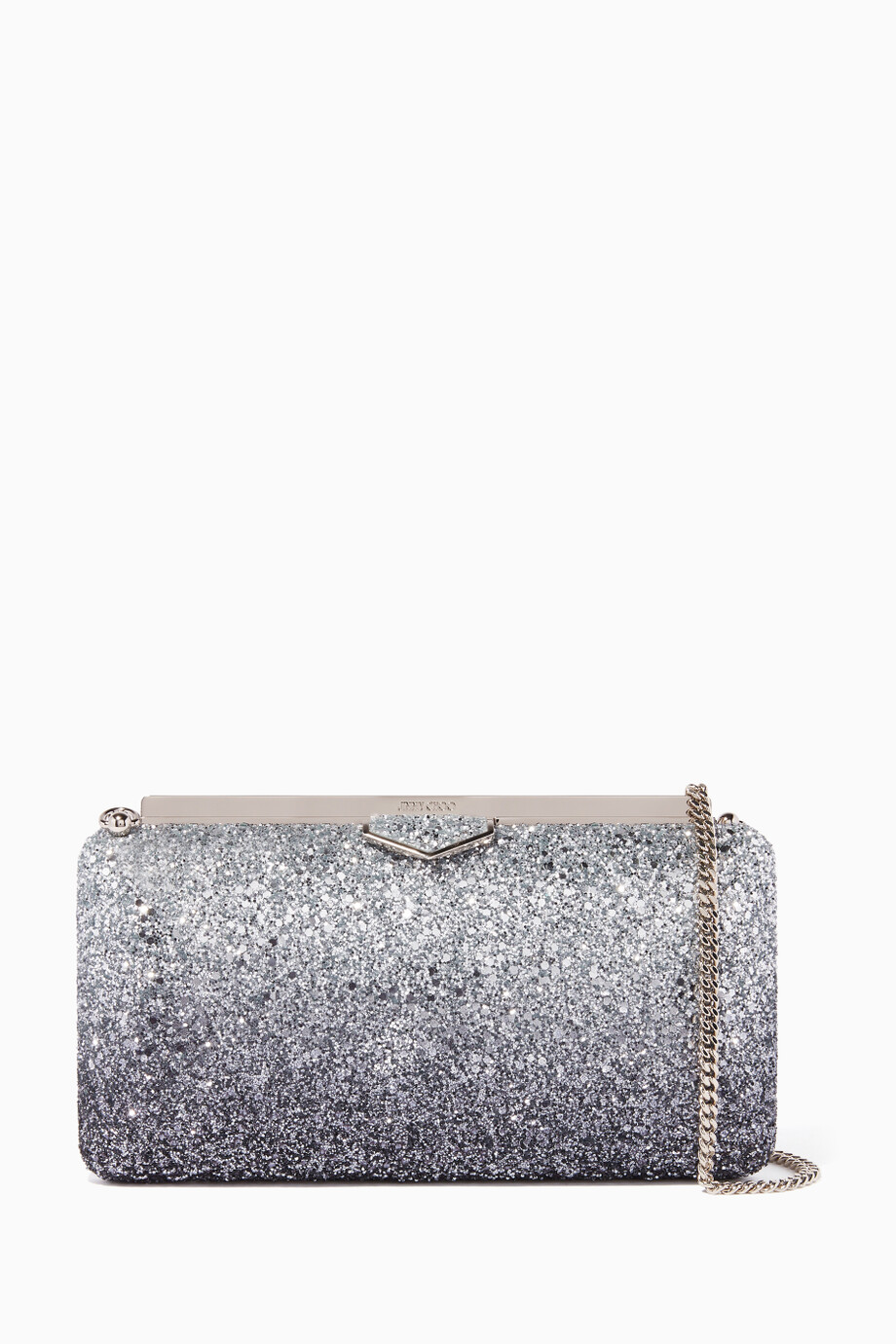 519603d461fb Shop Jimmy Choo Silver Navy   Silver Ellipse Coarse Glitter Clutch ...