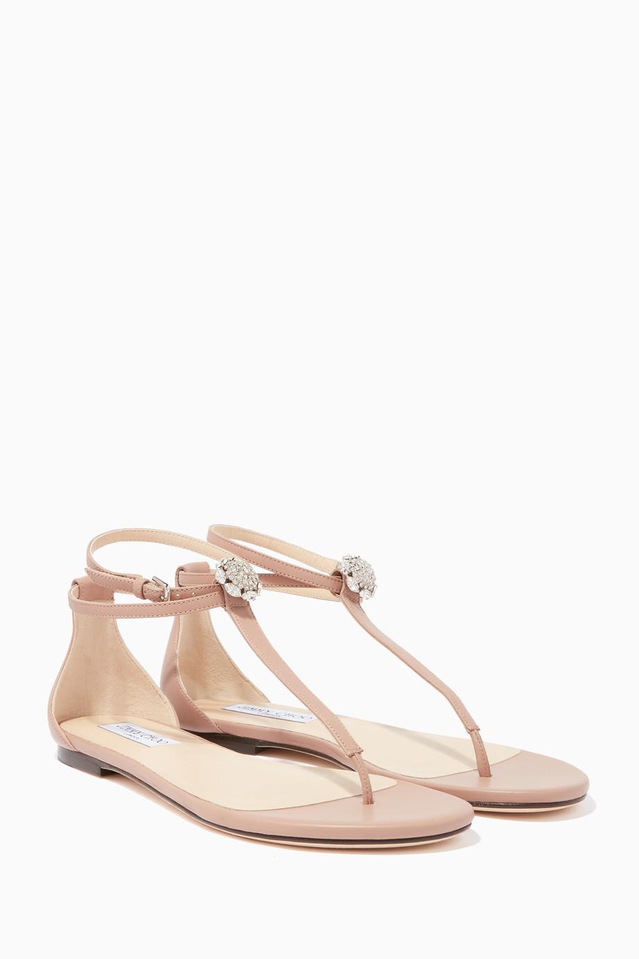 593d9ae3115b Shop Jimmy Choo Pink Ballet-Pink Afia Crystal Embellished Flats for ...