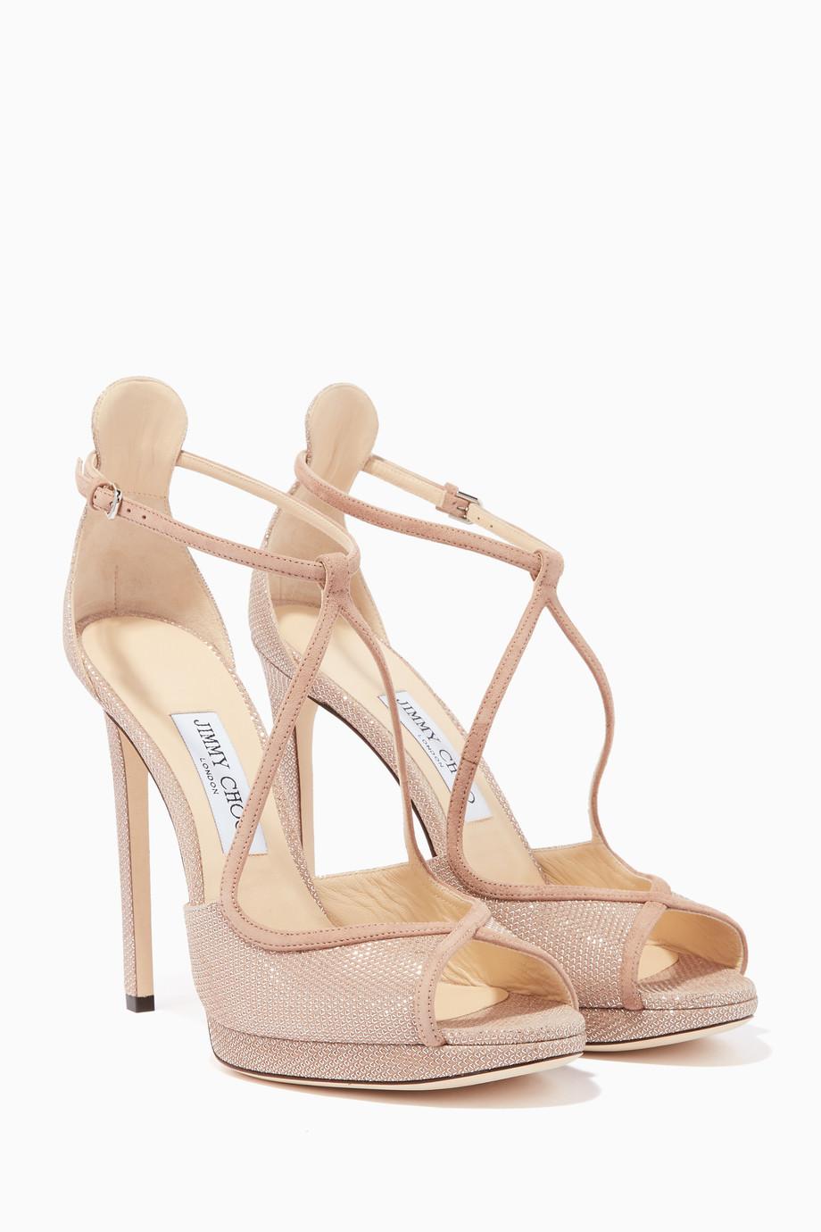 71e57dbe6407 Shop Jimmy Choo Pink Ballet-Pink Suede   Glitter Fawne 120 Sandals ...