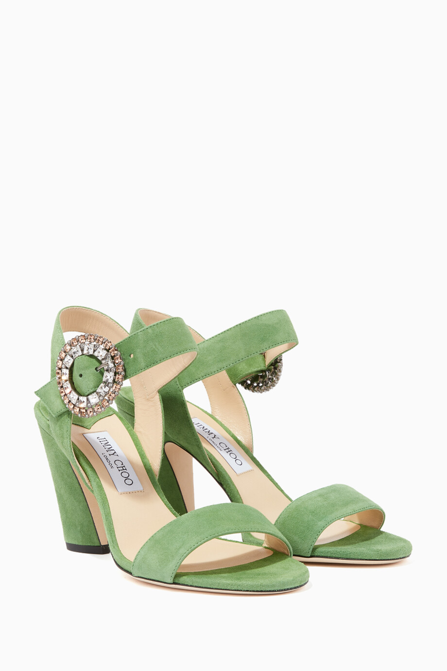 add71fc4e93c Shop Jimmy Choo Green Lime-Green   Silver-Crystal Mischa 85 Sandals ...