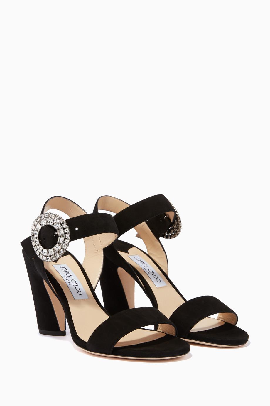3bd732e95c9 Shop Jimmy Choo Silver Black   Silver-Crystal Mischa 85 Sandals for ...