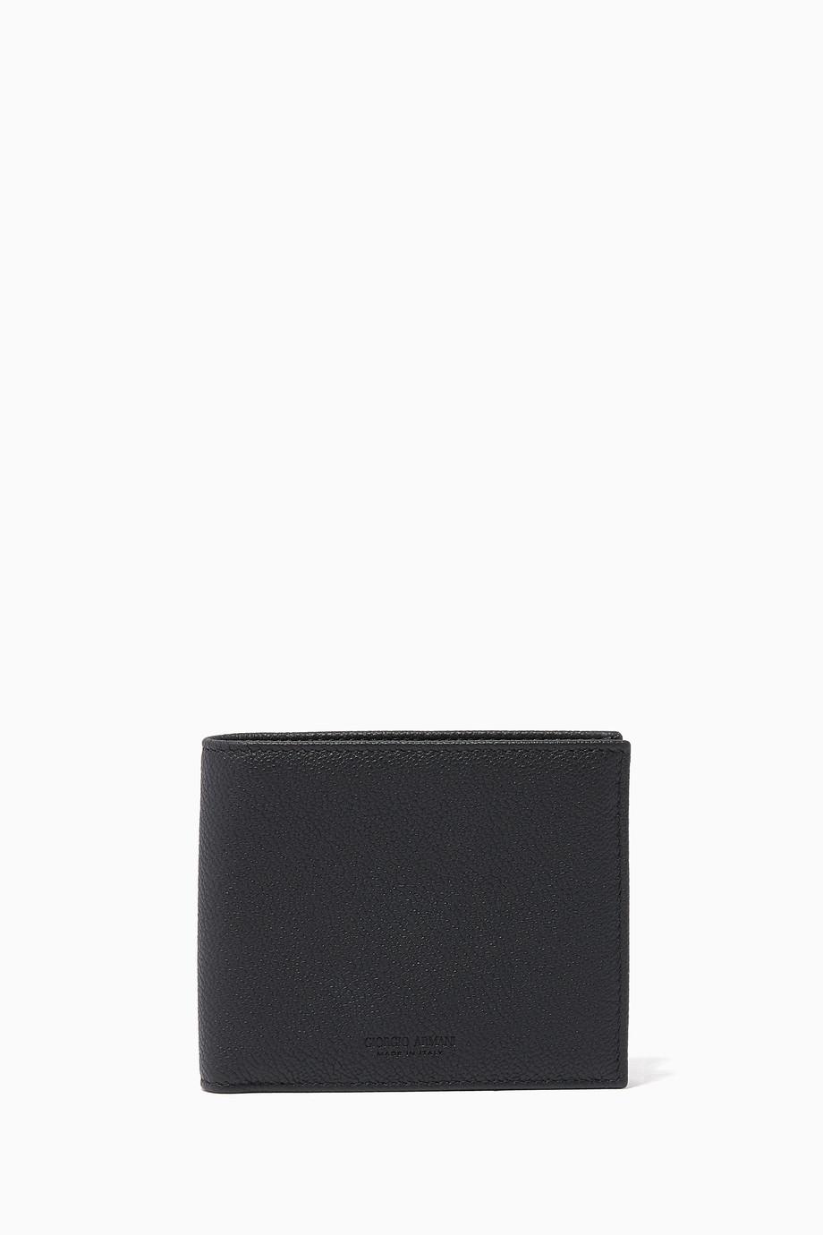 0194f34ce5 Shop Armani Beauty Black Black Leather Wallet for Men | Ounass
