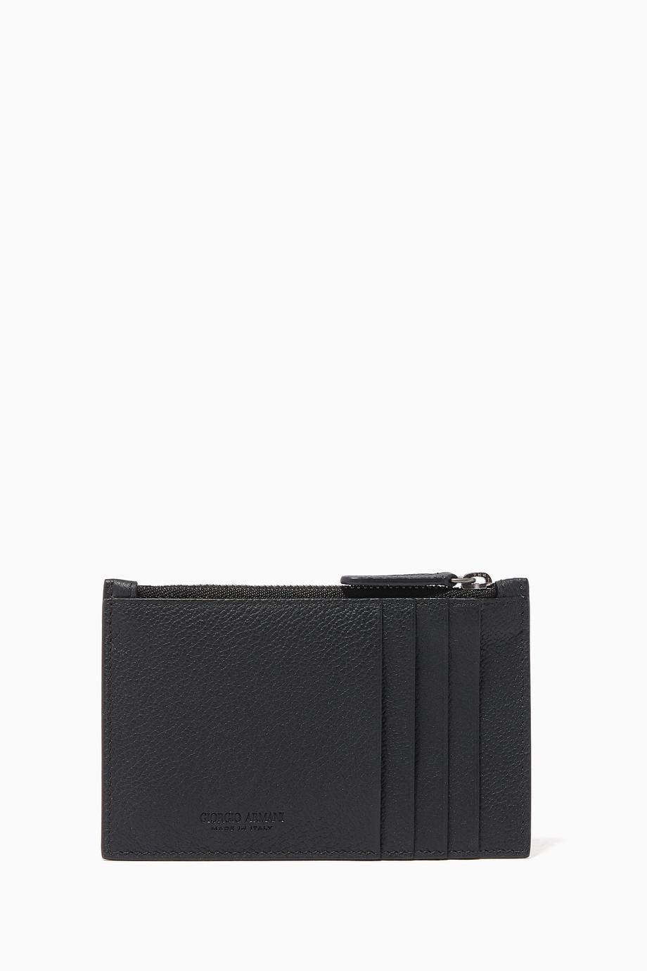 38e1e47f8f Shop Giorgio Armani Black Grained Leather Cardholder for Men ...