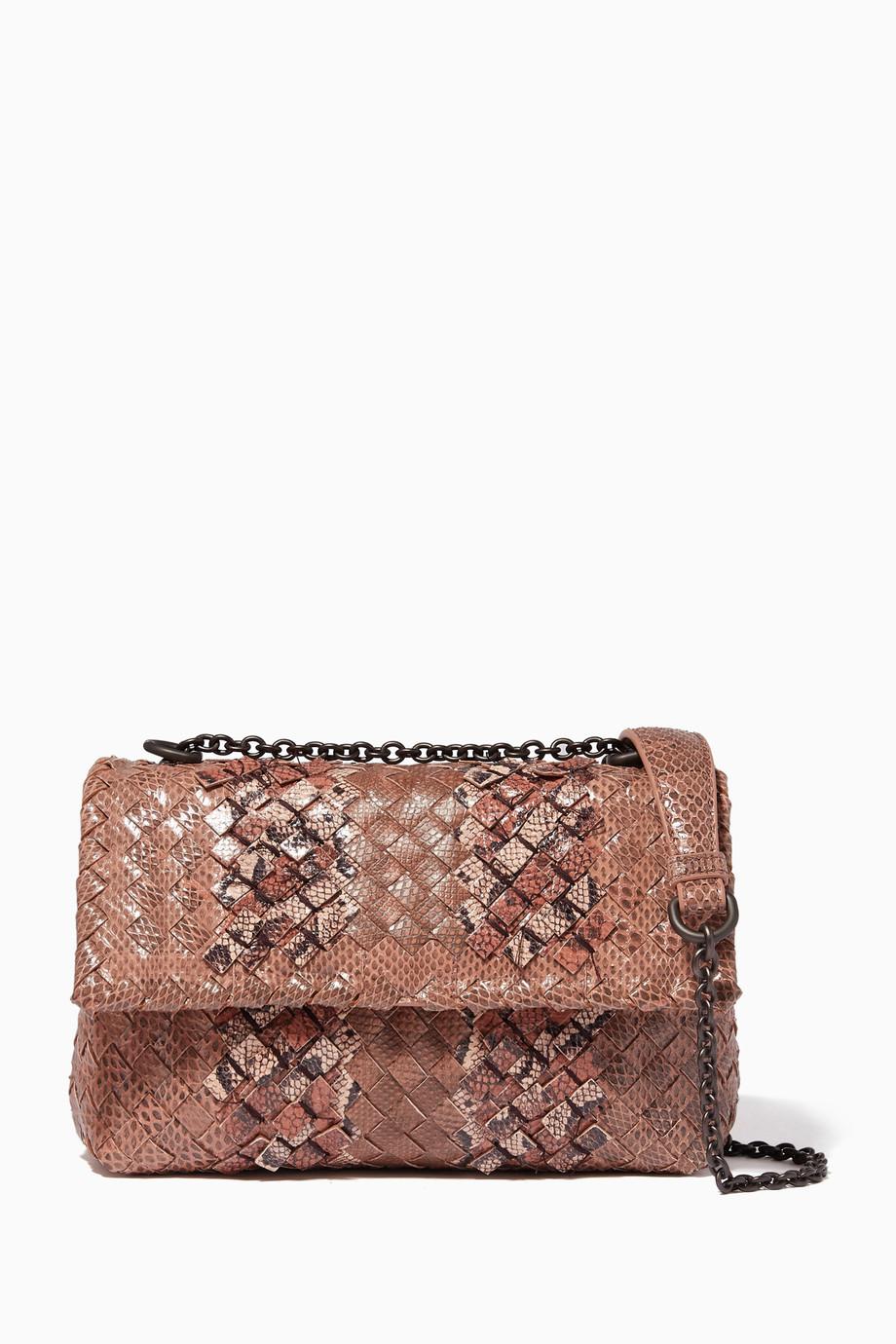 a25916eb30 Shop Bottega Veneta Pink Dahlia Baby Olimpia Shoulder Bag for Women ...