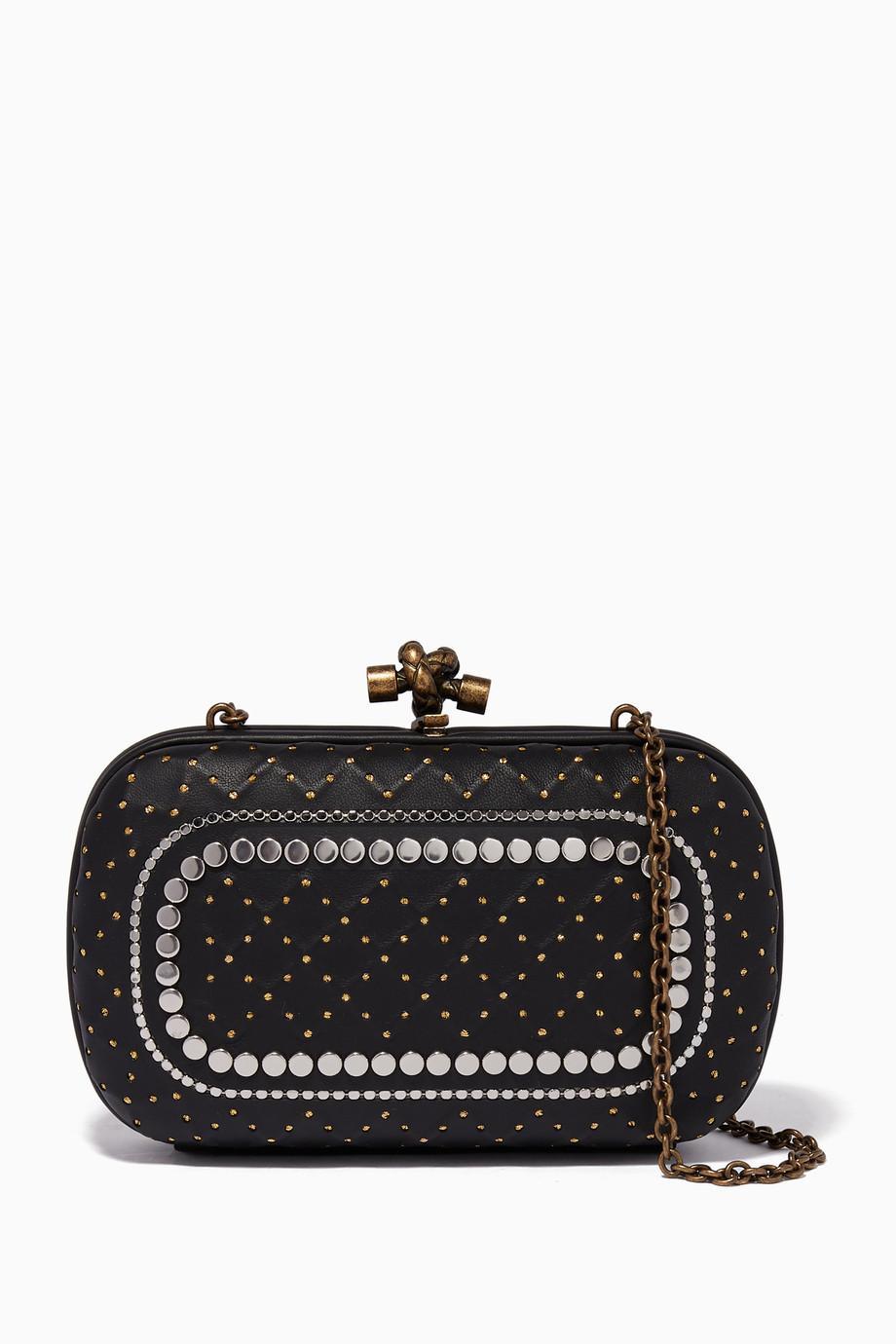 d052f80708cd Shop Bottega Veneta Black Black Catena Studded Knot Chain Clutch for ...