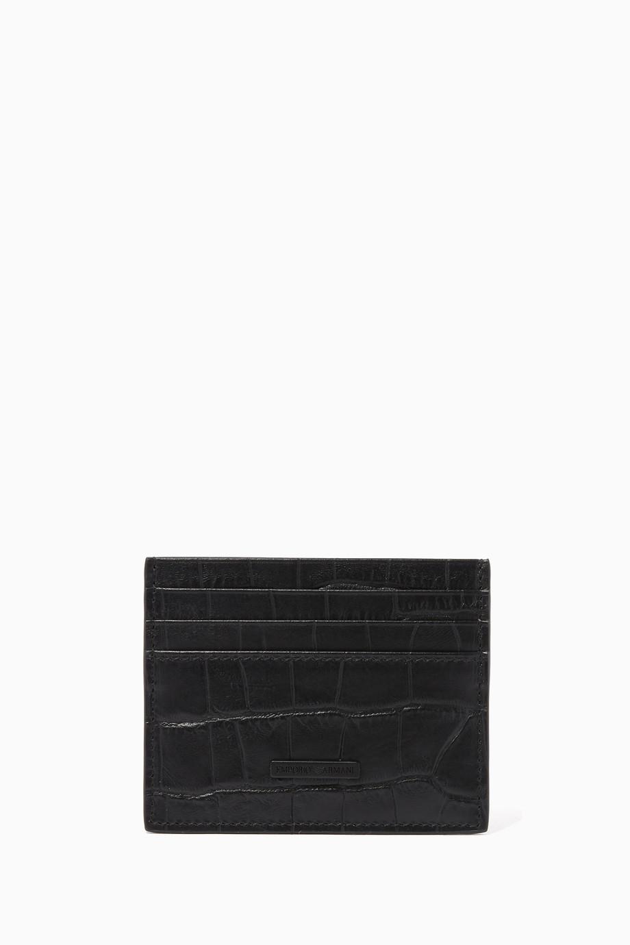 cba5785839 Shop Emporio Armani Black Crocodile-Effect Leather Cardholder for ...