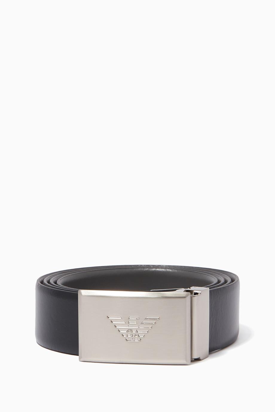e184d243 Shop Emporio Armani Black Eagle Plaque Buckle Reversible Belt for ...