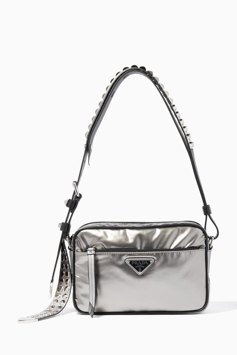 e4fcb0b722d3e5 Shop Prada Silver Metallic-Silver Nylon Camera Bag for Women ...