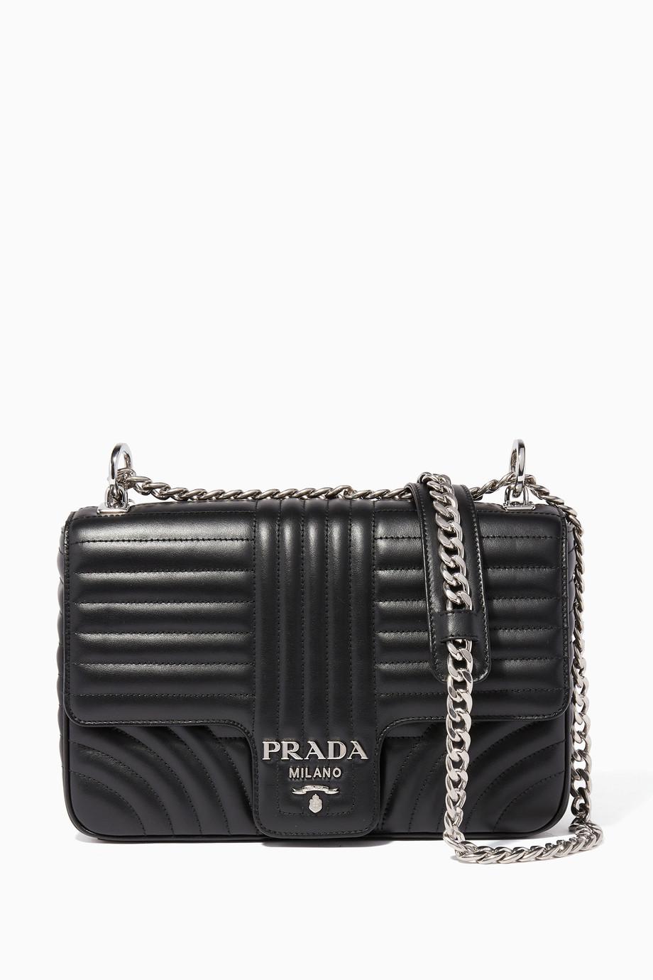 5c1285ced20049 Shop Prada Black Black Large Diagramme Shoulder Bag for Women ...