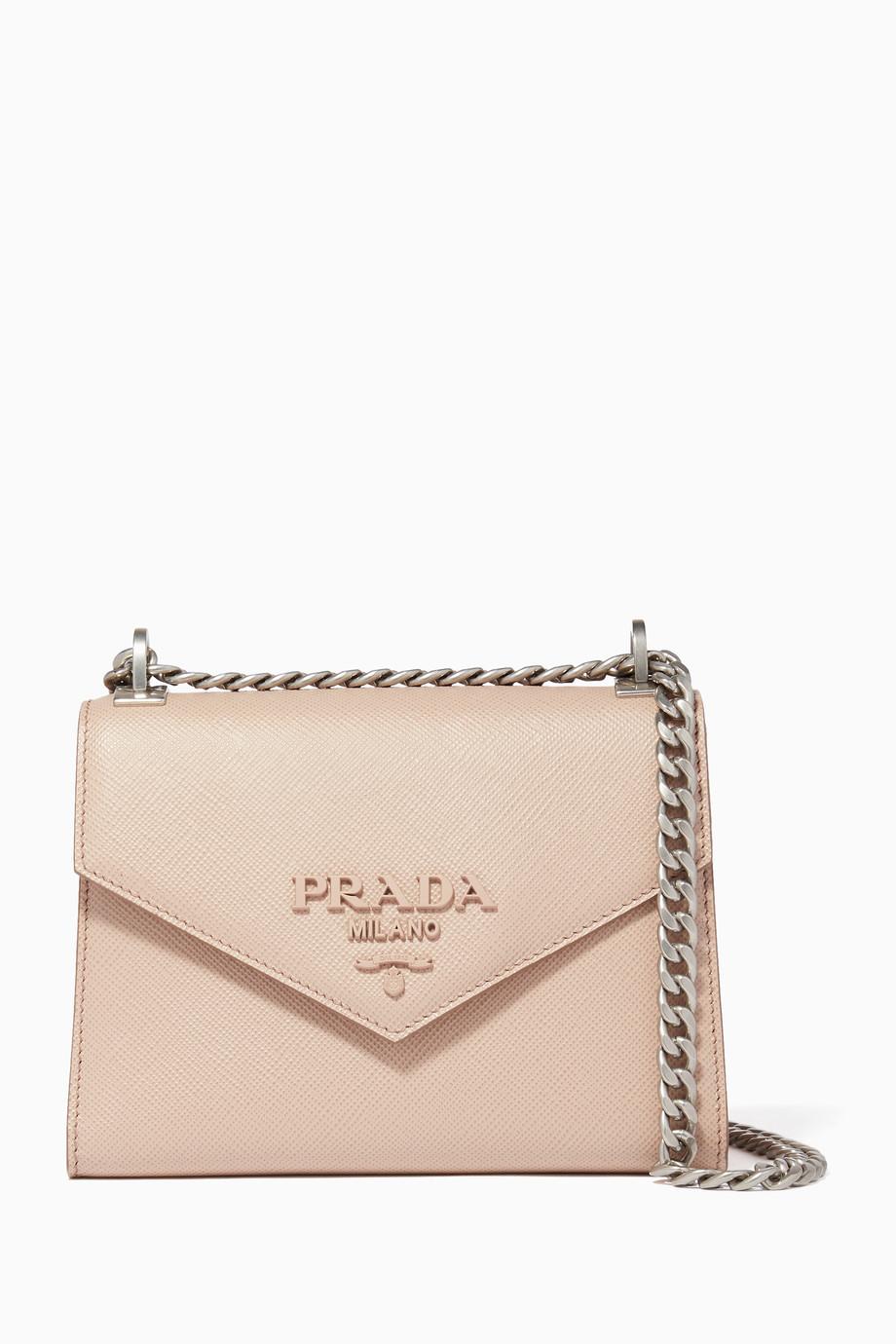 9b7c52836ad3 Shop Prada Pink Light-Pink Prada Monochrome Saffiano Leather ...