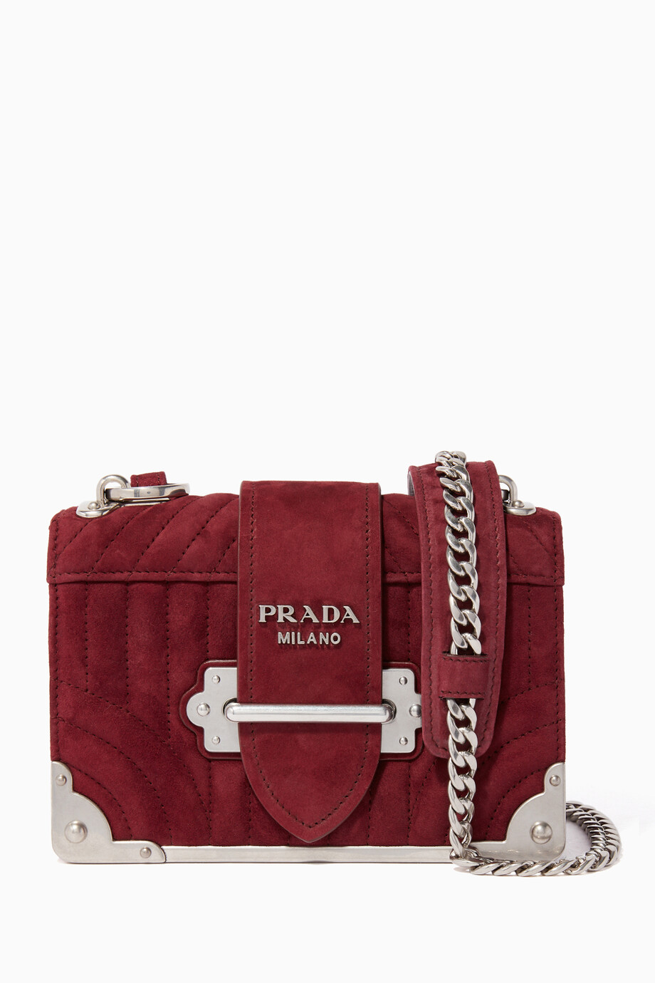d7693b96727 Shop Prada Red Dark-Red Mini Cahiers Quilted Suede Shoulder Bag for ...