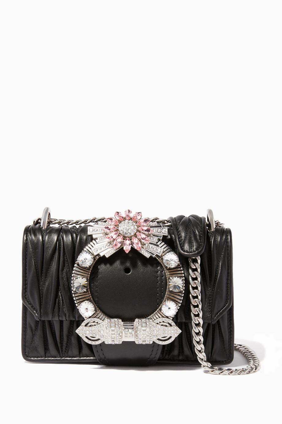 9d6b6ffaa22 Shop Miu Miu Black Black Crystal-Embellished Miu Lady Shoulder Bag ...