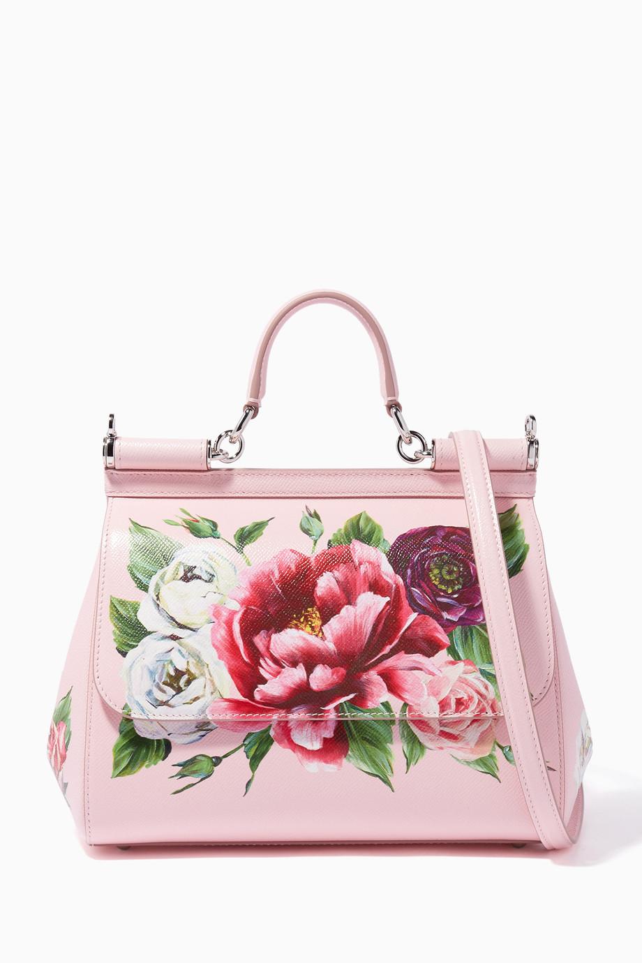 8190f1db63ccd Shop Dolce & Gabbana Pink Light-Pink Medium Peony Miss Sicily Bag ...