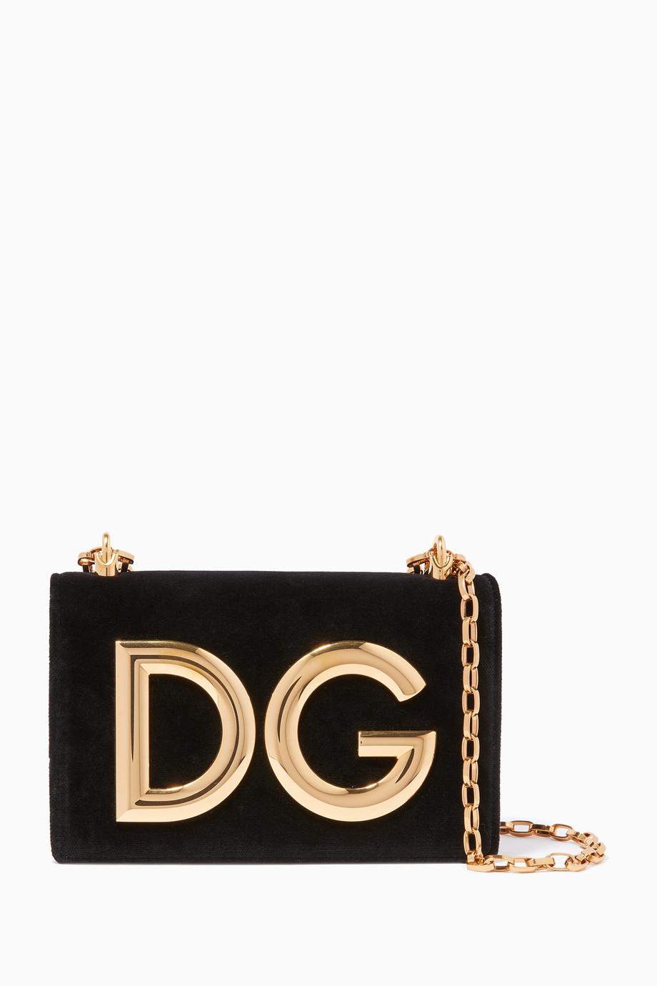 a06051850b8d Shop Dolce & Gabbana Black Black Velvet DG Girls Chain Shoulder Bag ...