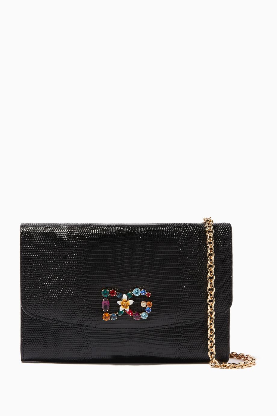 eb523f73a3 Shop Dolce   Gabbana Black Black Iguana-Printed Leather Wallet ...