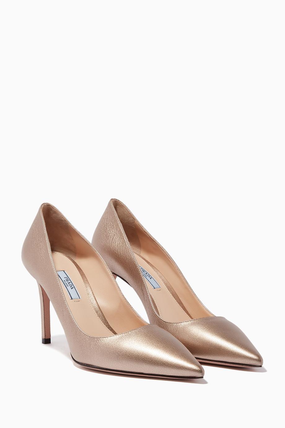 fed0e84cd Shop Prada Gold Metallic-Gold Leather Pumps for Women